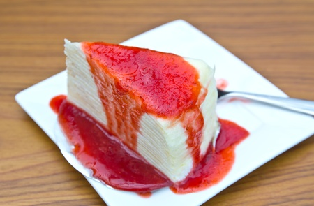 Cake topping with strawberry sauce  Stock Photo