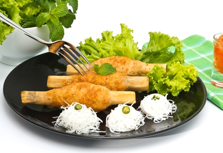Vietnamese food, sugarcane wrapped with shrimp