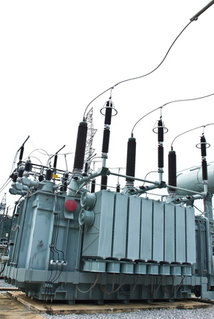 substation: Transformer in substation Stock Photo