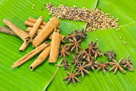 Spices on banana leaf