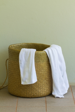 Used towel in the basket