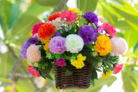 Colorful artificial flowers photo