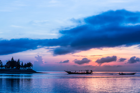 Fisherman go out for fishing in the sea on early morning