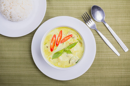 Green curry with steam rice, Thai popular food photo