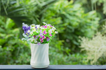 bouquet of flowers: Flower in vase at the garden Stock Photo