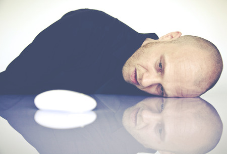 despaired: graphic designer with computer mouse Stock Photo
