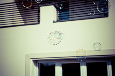 children play: children play with soap bubble