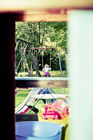 school nurse: kids play at the playground Stock Photo