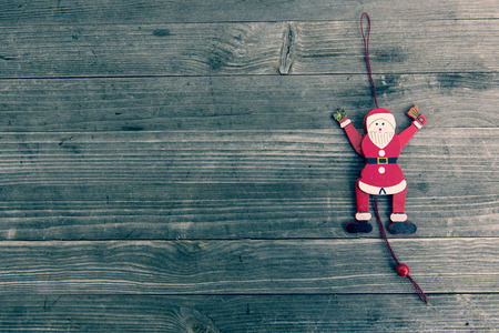 christmasy: red vintage wooden christmas santa claus