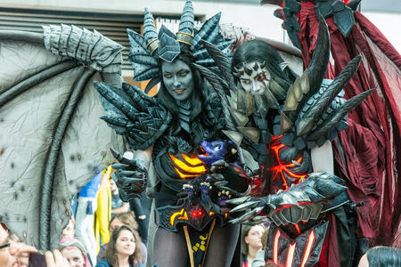 July 1st 2017. Stuttgart, Germany. Cosplay contest at Comic-Con Stuttgart. Cosplayers show off their talents. Comic-Con Stuttgart invites fans and cos-players to meet celebrities and comic artists in panels, Q&As, photo and signing sessions Editorial