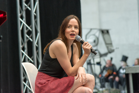 July 1st 2017. Stuttgart, Germany. Valene Kane, Lyra Erso in Star Wars: Rogue One, answering questions at Comic Con. Comic-Con Stuttgart invites fans and cos-players to meet celebrities and comic artists in panels, Q&As, photo and signing sessions Editorial