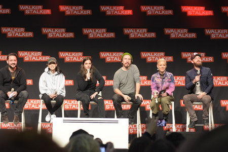 MANNHEIM, GERMANY - MARCH 17: (L to R) Actors Christian Serratos, Alanna Masterson, Michael Traynor, host, Ross Marquand (The Walking Dead), panel, at Walker Stalker Germany convention. (Photo by Markus Wissmann)