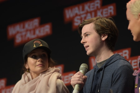 MANNHEIM, GERMANY - MARCH 18: (L to R) Actors Sarah Wayne Callies, Chandler Riggs (The Walking Dead), panel, at Walker Stalker Germany convention. (Photo by Markus Wissmann)