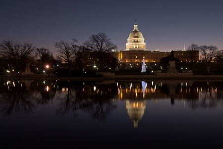 US Capitol Building Sunrise Holiday Reflection photo