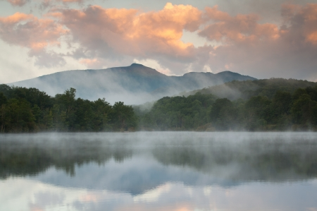 Blue Ridge Grandfather Mountain Sunrise Reflection Julian Price Lake photo