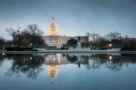 dome building: United States Capitol Building Winter Morning Reflections