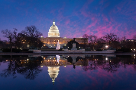 capitol building: United States Capitol Building Sunrise Christmas Reflections
