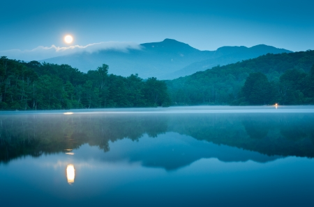 Blue Ridge Mountain Full Moon Reflection photo