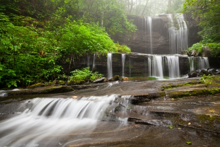 Blue Ridge Mountain Foggy Waterfall Scenic photo