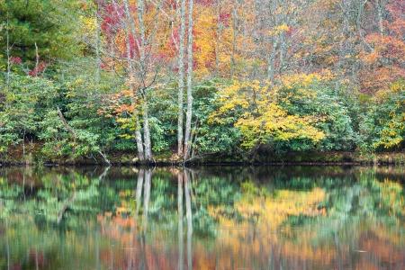 north ridge: North Carolina Blue Ridge Mountain Autumn Reflections Price Lake Blue Ridge Parkway Stock Photo