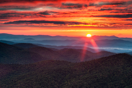 north ridge: Blue Ridge Mountain Sunrise Western North Carolina