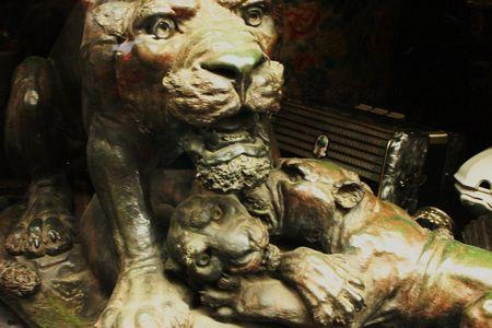 lion figurines: Antique Bronze Lion Stock Photo