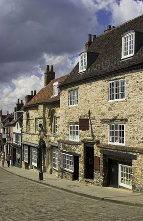 A cobbled  street in the historic city of Lincoln, England, U.K.