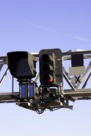 Railway Signal Gantry Фото со стока