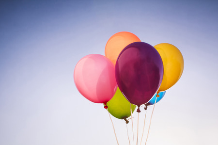 birthday: Color balloons background Stock Photo