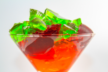 Colorful Jelatin Dessert in a Martini Glass