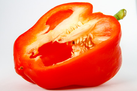 Fresh Red Bell Pepper with Exposed Seeds Stock Photo