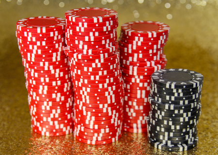 Stacks of Red and Black Poker Chips Stock Photo