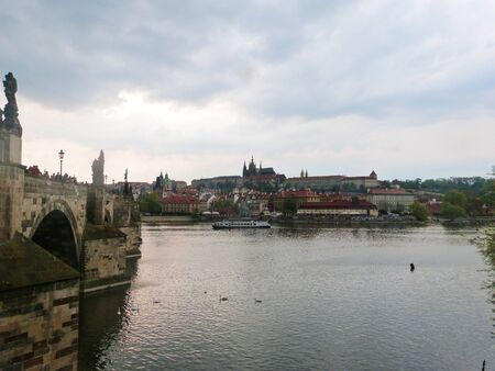 Castle on the river, Panorama of the city - Prague, Czech