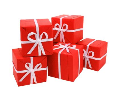 Little red gift boxes isolated on white (clipping path included) Stock Photo - 918838