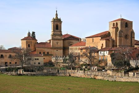 abbey: The benedictine monastery of Santo Domingo de Silos and the church of San Pedro, Spain Stock Photo