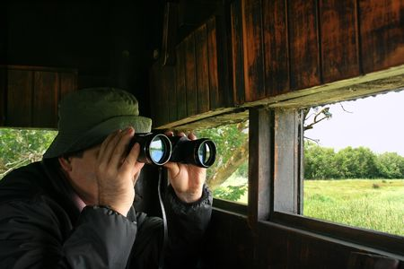 bird watcher: Man looking through binoculars in a birdwatching hideout