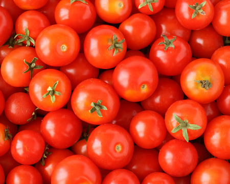 organically: Organically grown red cherry tomatoes background Stock Photo