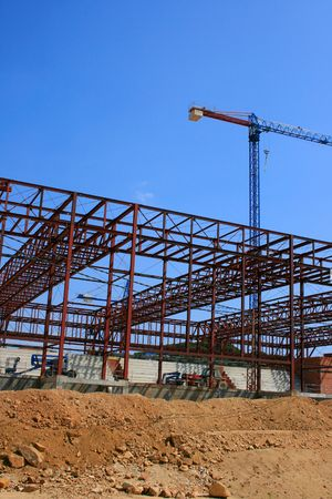 New building structure and crane over blue sky Stock Photo - 1969624