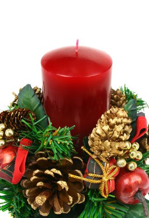 Christmas ornament with red candle and pine cones Stock Photo - 1969622