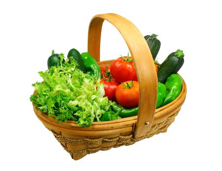 escarole: Basket full of freshly picked organic vegetables, isolated on white with clipping path