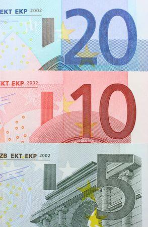 Three euro notes closeup (five, ten and twenty euros) Stock Photo - 3088122