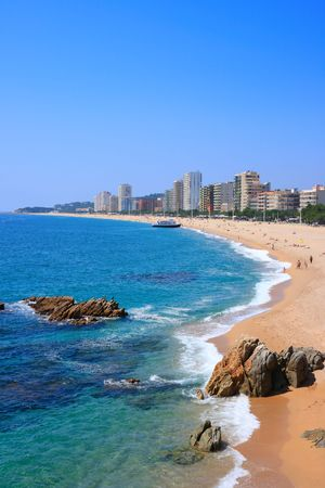 seafronts: Platja dAro beach, a well known tourist destination (Costa Brava, Catalonia, Spain)