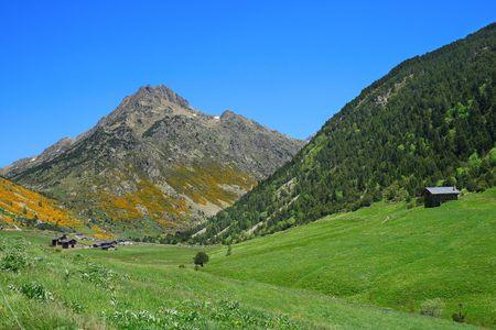tourism in andorra: Vall dIncles landscape with Alt de Juclar peak in background (Pyrenees, Andorra)