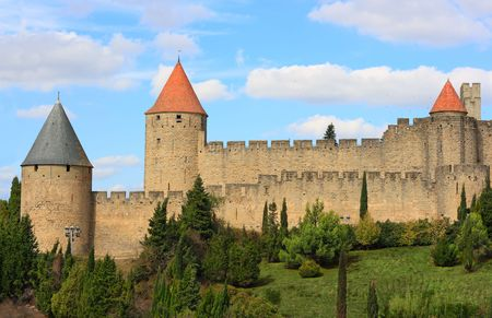 fortified: The fortified city of Carcassonne (France)