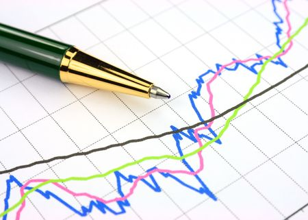 Colourful business chart and pen photo