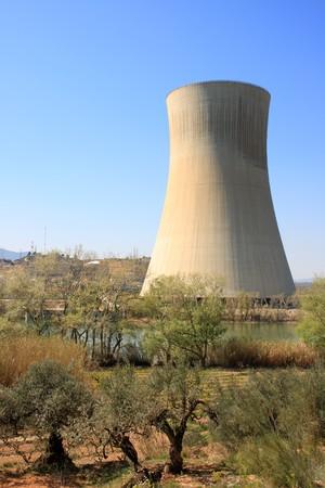 nuclear power plant: Asco nuclear power plant over the Ebro river (Tarragona, Spain) Stock Photo