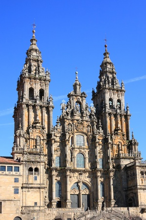 galicia: Santiago de Compostela Cathedral in Galicia (Spain). Destination of the Way of St. James, a major historical pilgrimage route since the Middle Ages.