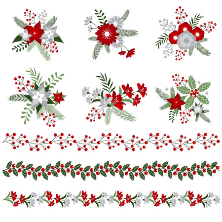 Christmas floral bouquets and borders