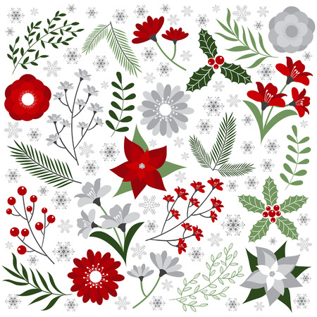 red christmas background: Christmas floral set