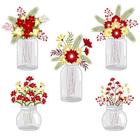 Christmas flowers in mason jars Vector